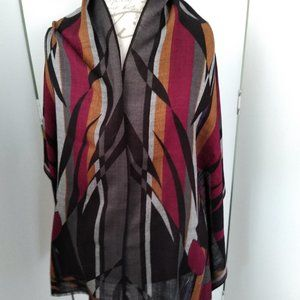 Vintage Honey Wool Abstract Pattern Oblong Scarf
